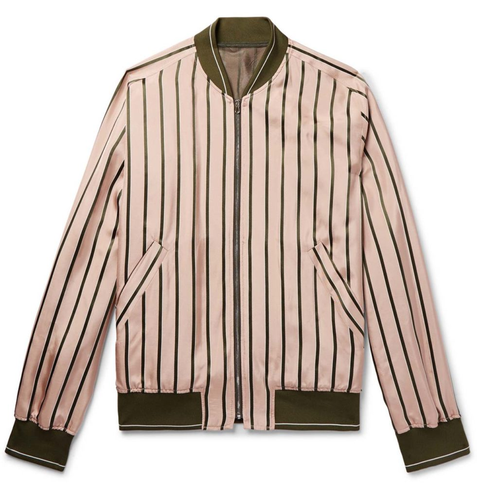 Solid Homme Striped Satin Bomber Jacket_1