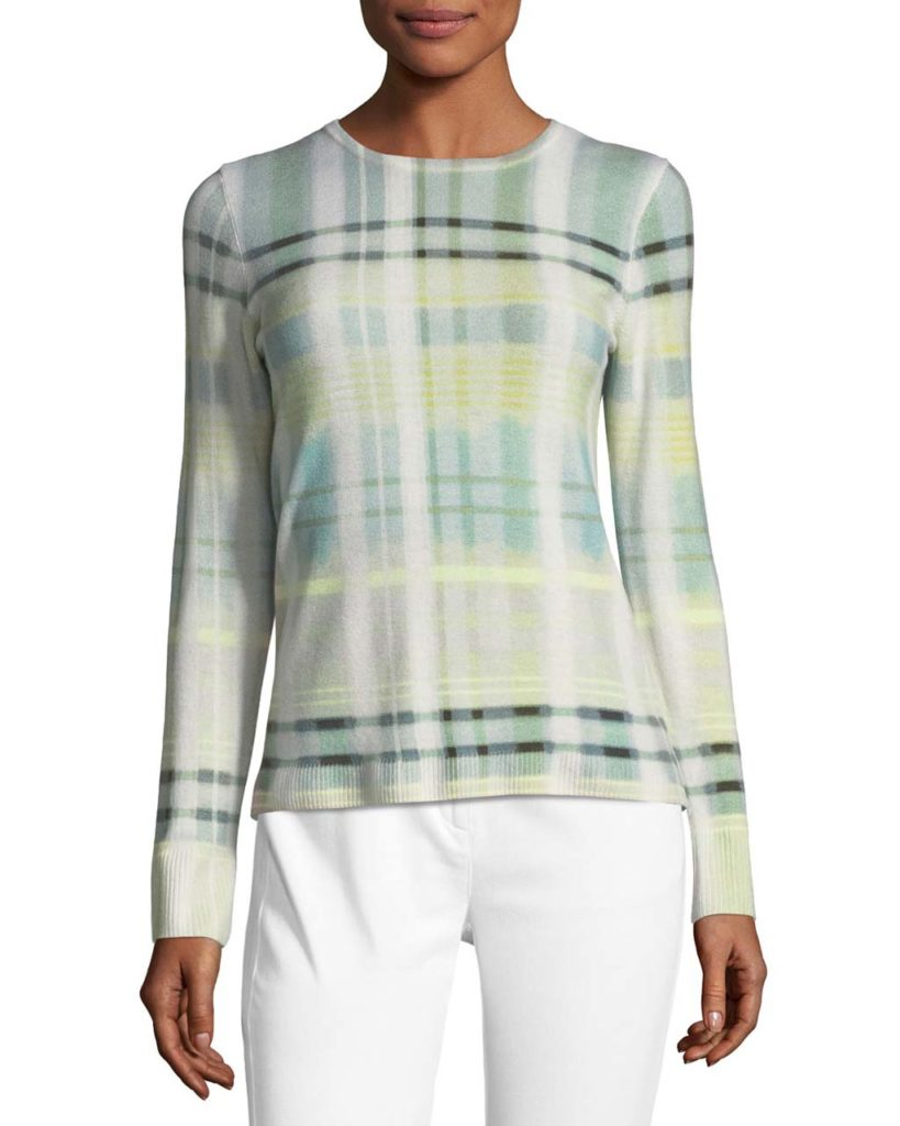St. John Collection Cashmere Plaid-Print Sweater