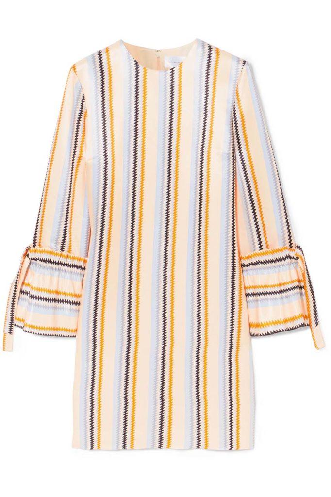 Victoria, Victoria Beckham Striped Satin-Twill Dress