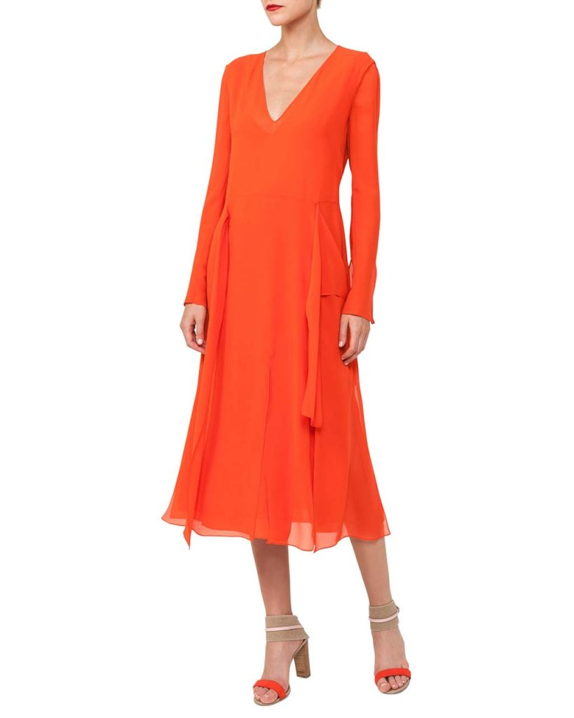 Akris Long-Sleeve V-Neck Silk Carwash Dress