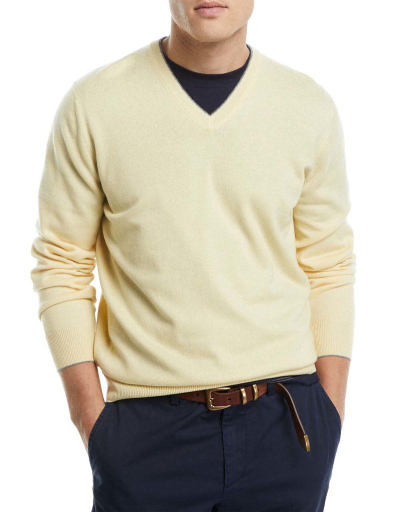 Brunello Cucinelli Cashmere Basic V-Neck Sweater