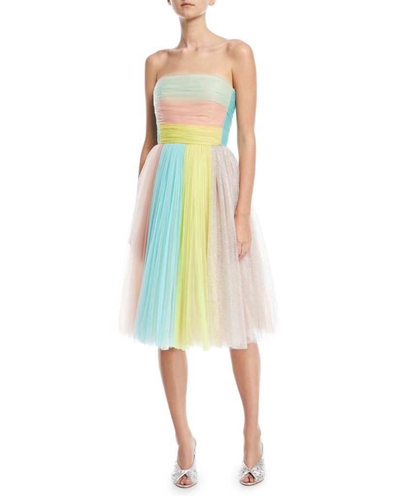 Delpozo Colorblock Strapless Tulle Cocktail Dress