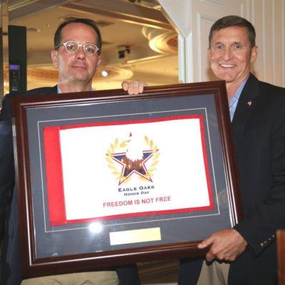 Eagle Oaks Honor Day - Committee Chair Joseph Cary with Lieutenant General Michael Flynn Keynote Speaker