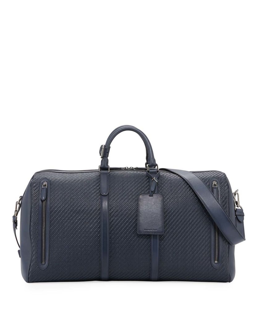 Ermenegildo Zegna Hold-All 55 Pelle Tessuta Weekender Bag