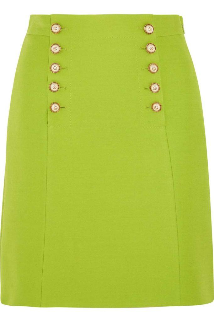 GUCCI Faux pearl-embellished wool-crepe mini skirt $1,300