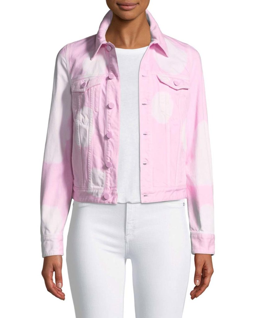 Givenchy Button-Front Long-Sleeve Bleached Jean Jacket