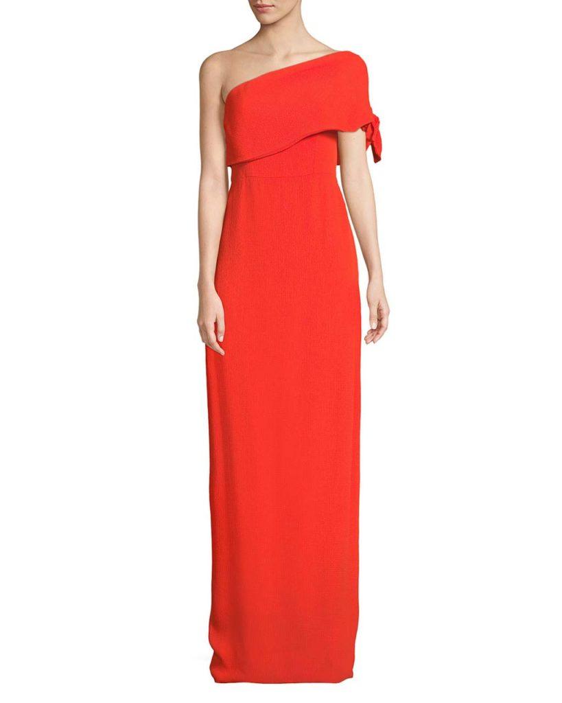 Lela Rose One-Shoulder Crepe Column Gown