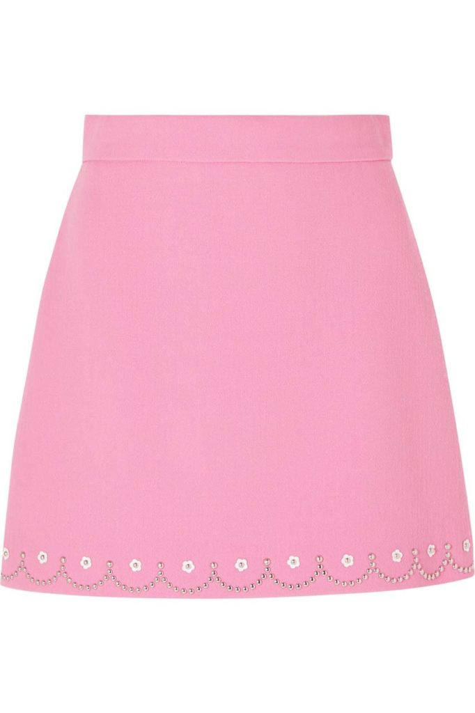 Miu Miu Embellished Wool-Crepe Mini Skirt