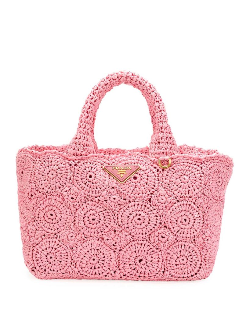 Prada Raffia Circle Tote Bag