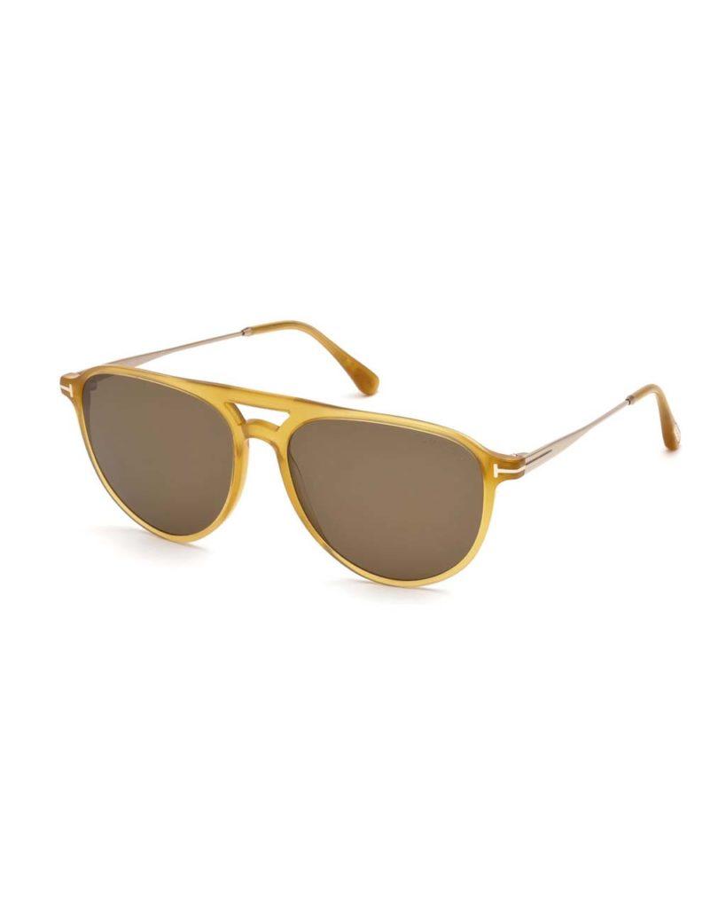 Tom Ford Carlo Acetate-and-Metal Aviator Sunglasses_1