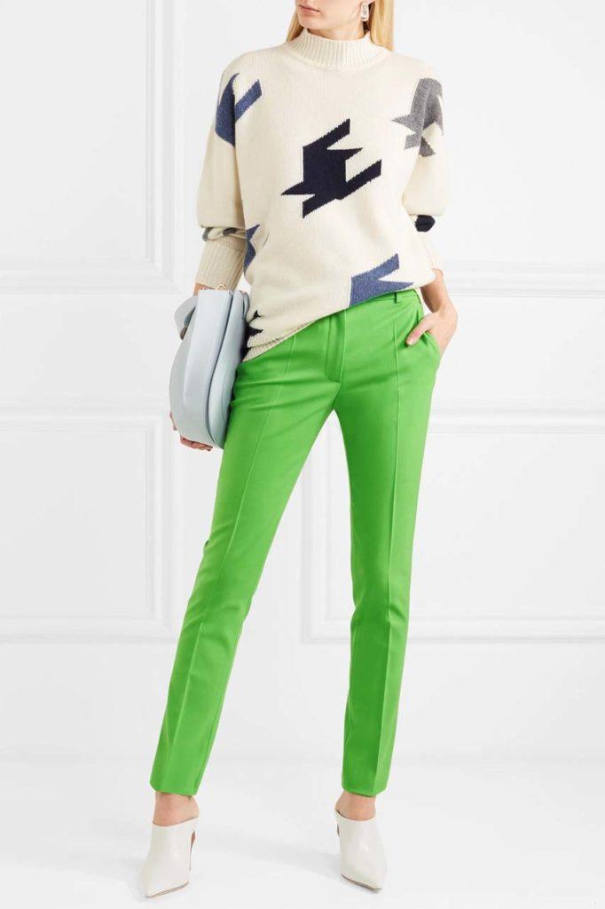 Victoria Beckham Slim Green Trousers