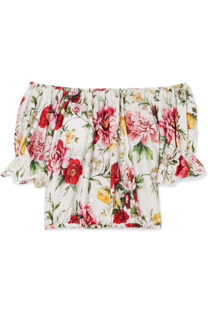 dolce-gabbana-white-Off-the-shoulder-Floral-print-Cotton-Blouse