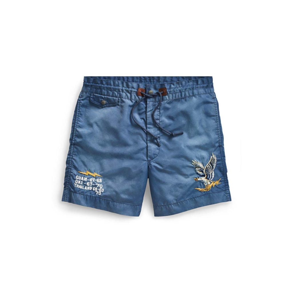 rrl-Washed-Blue-Embroidered-Twill-Short