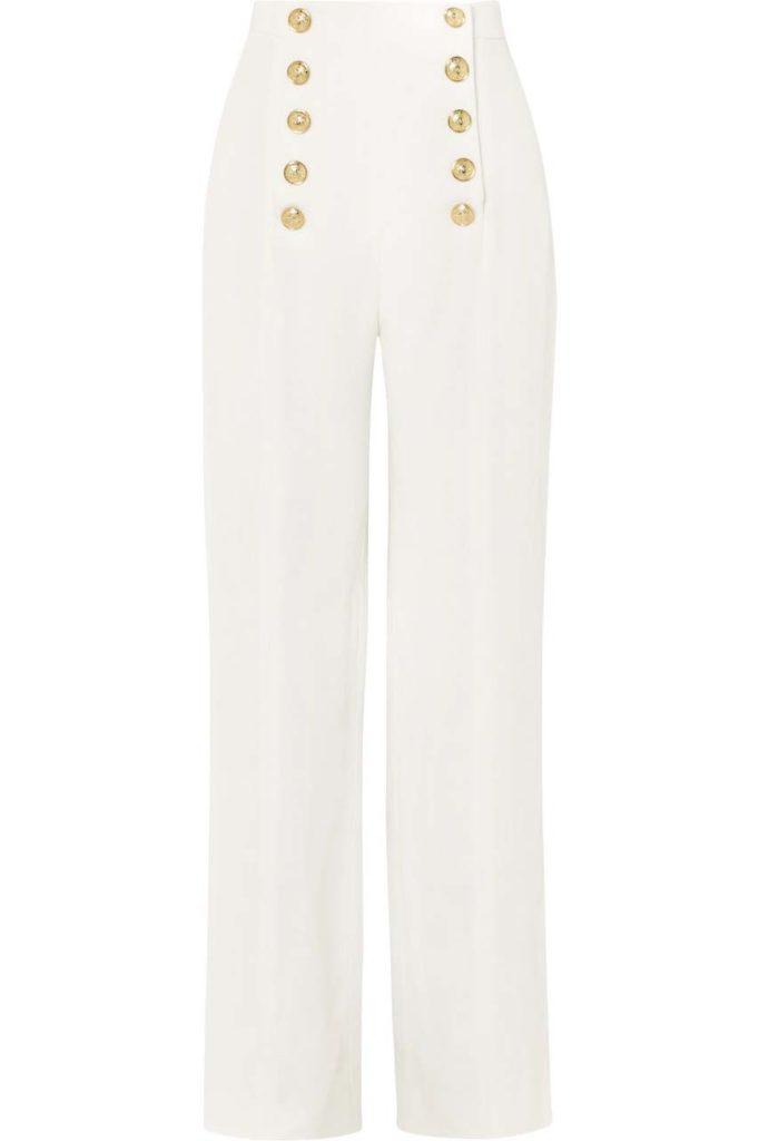 Balmain Button-Detailed Crepe Wide-Leg Pants