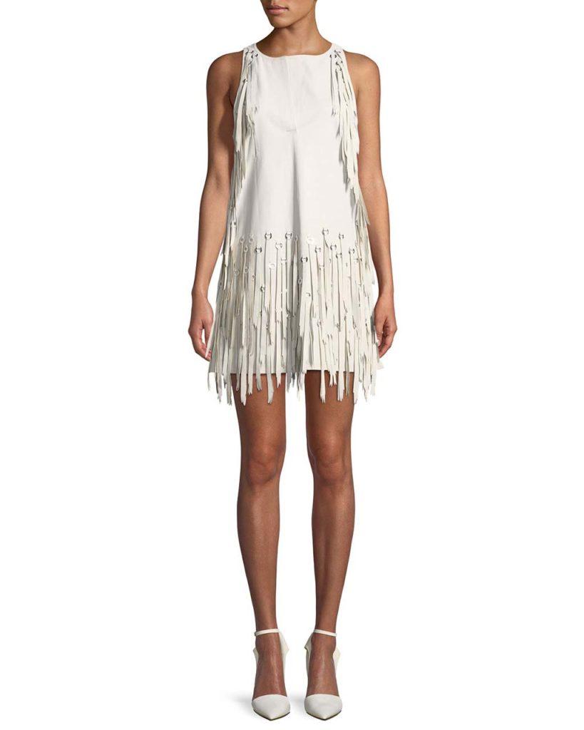 Bottega Veneta Sleeveless A-Line Leather Dress w_ Fringe Metal Grommets