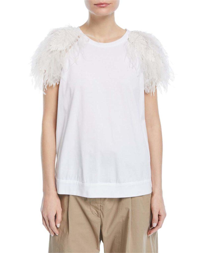 Brunello Cucinelli Feather-Trim T-Shirt