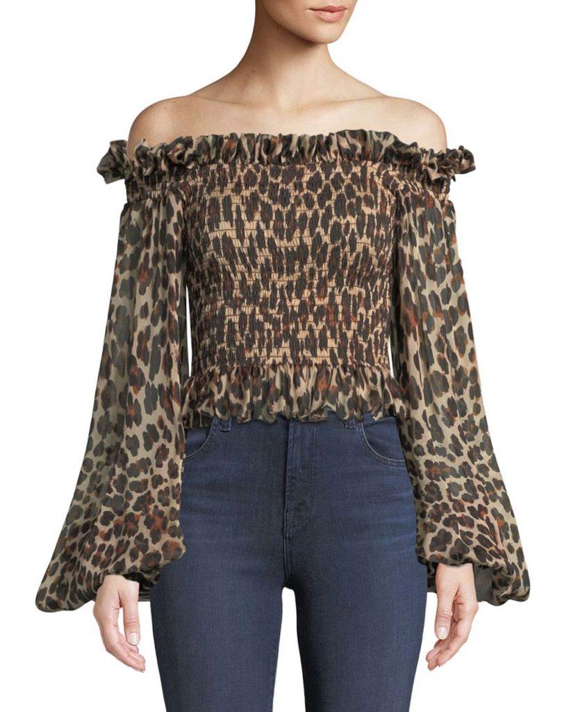 Caroline Constas Damaris Leopard-Print Off-the-Shoulder Top