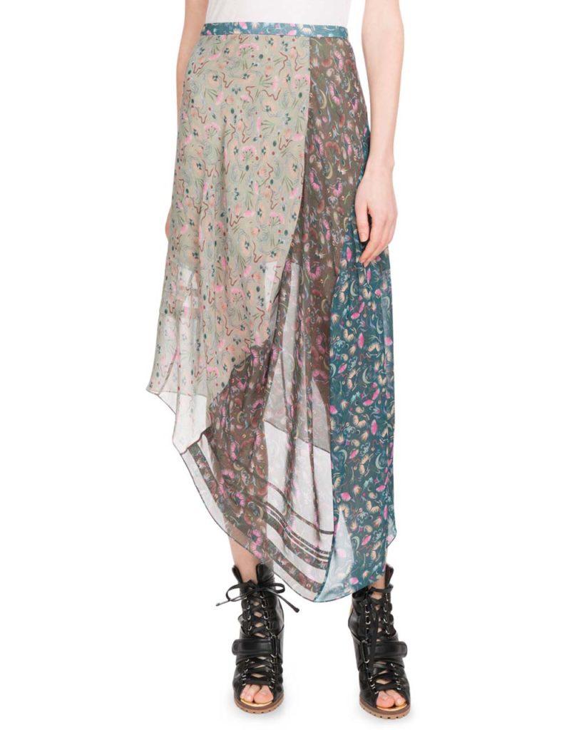 Chloe Garden-Print Asymmetric-Hem Mid-Calf Georgette Skirt_1