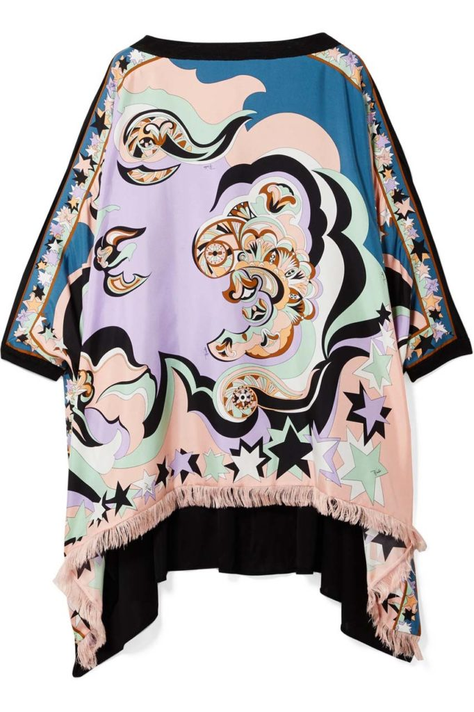 Emilio Pucci Edie Fringed Printed Silk-Twill and Chiffon Top_1