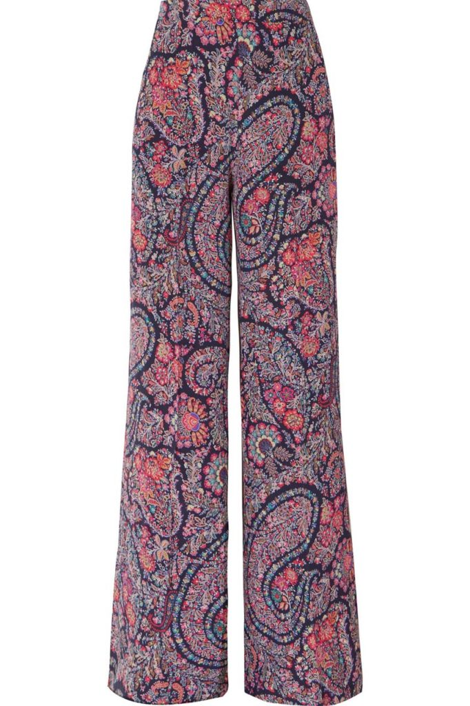 Etro Printed Silk Crepe de Chine Wide-Leg Pants_1