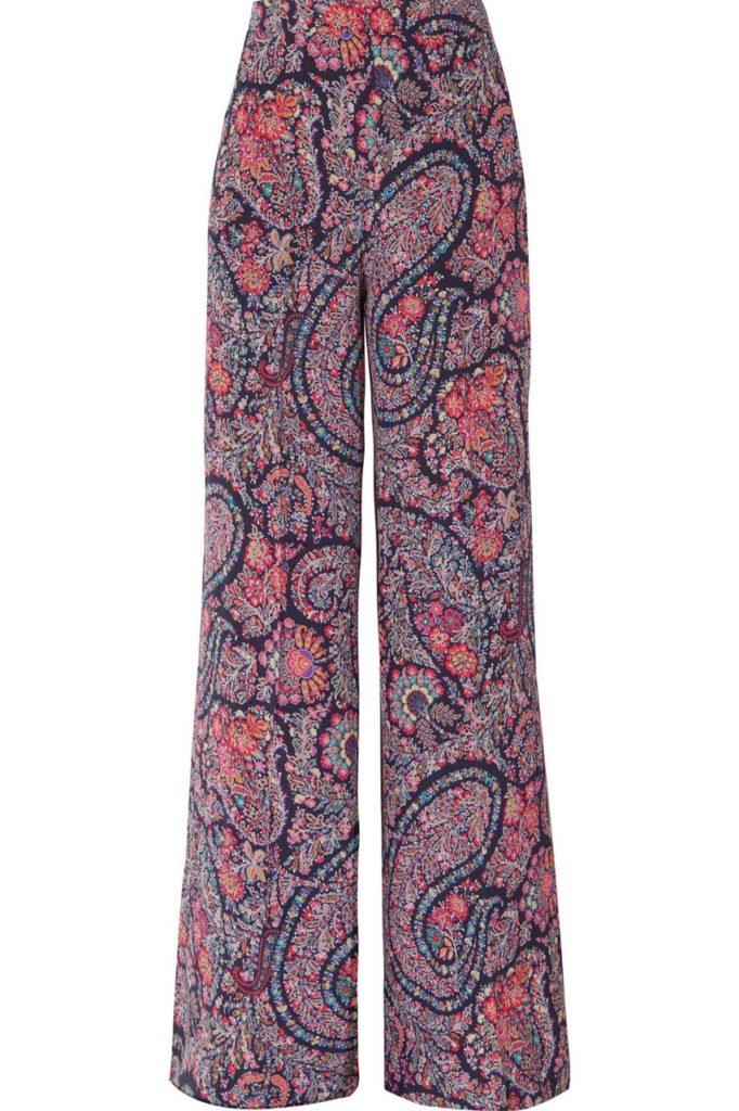Etro Printed Silk Crepe de Chine Wide-Leg Pants_1