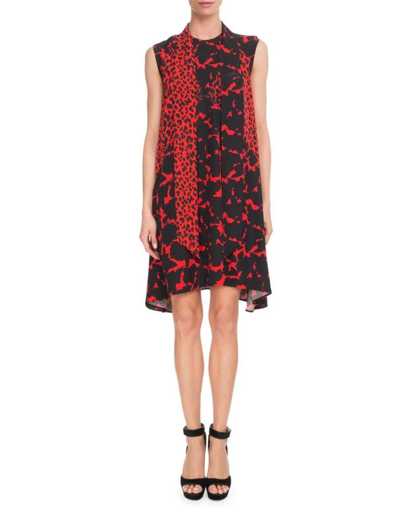 Givenchy Sleeveless Leopard-Print Scarf-Neck Oversized Silk Crepe Dress