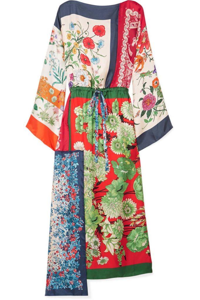 Gucci Asymmetric Printed Silk-Twill Midi Dress