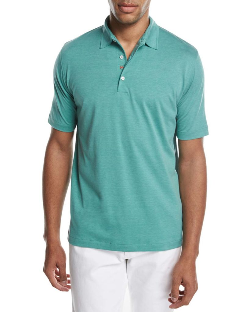 Isaia Cotton-Silk Polo Shirt, Green