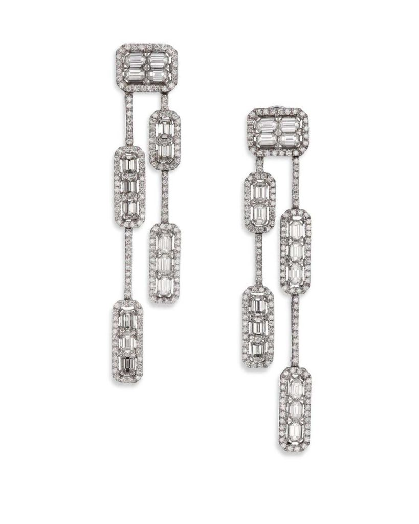 Roberto Coin Baguette Deco Diamond & 18K White Gold Double-Strand Drop Earrings