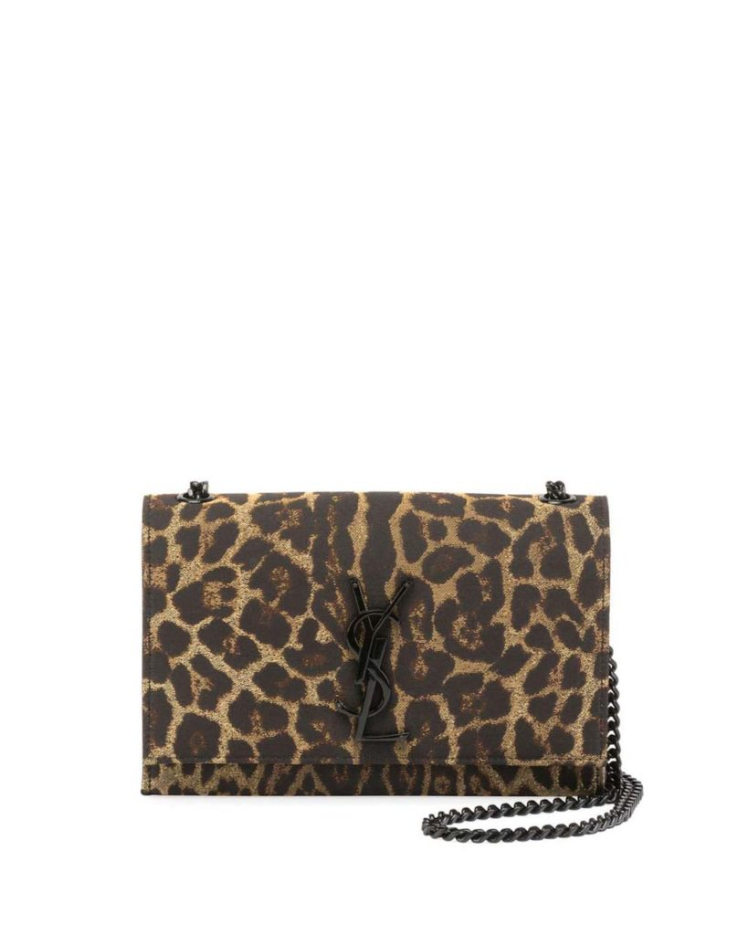 Saint Laurent Kate Monogram Small Leopard Jacquard Crossbody Bag