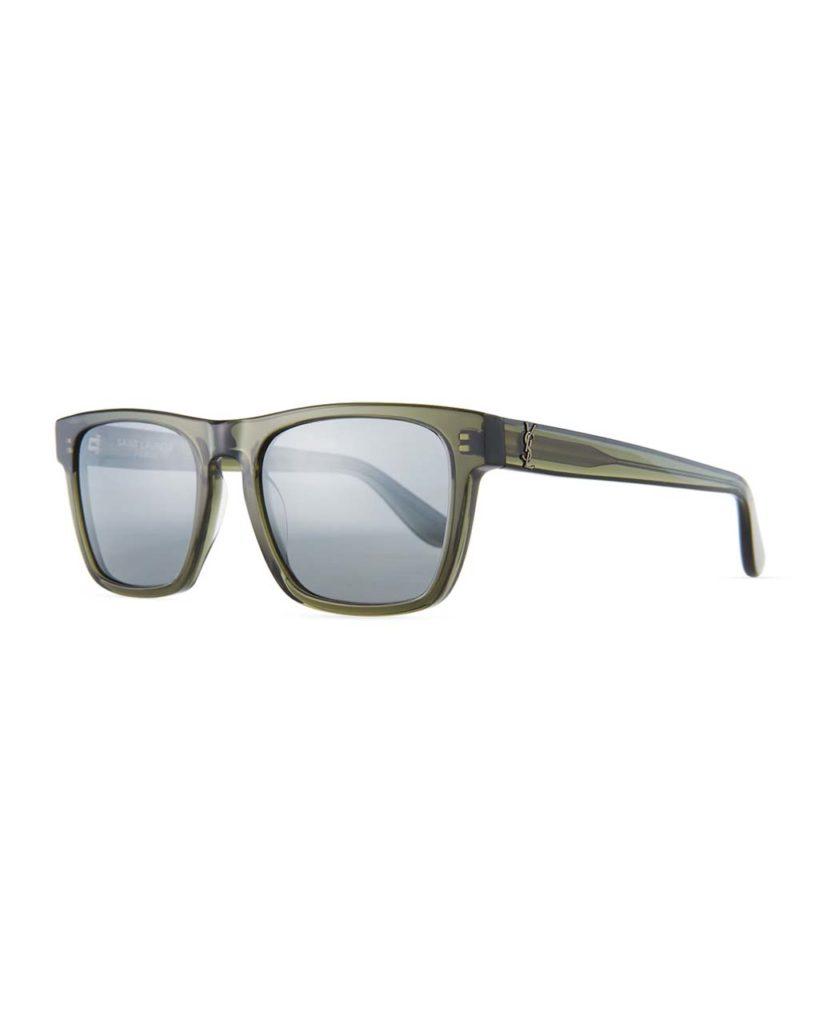 Saint Laurent Square Acetate Sunglasses, Gray