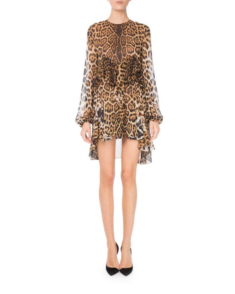 Saint Laurent Tiered Leopard-Print Silk Dress_1