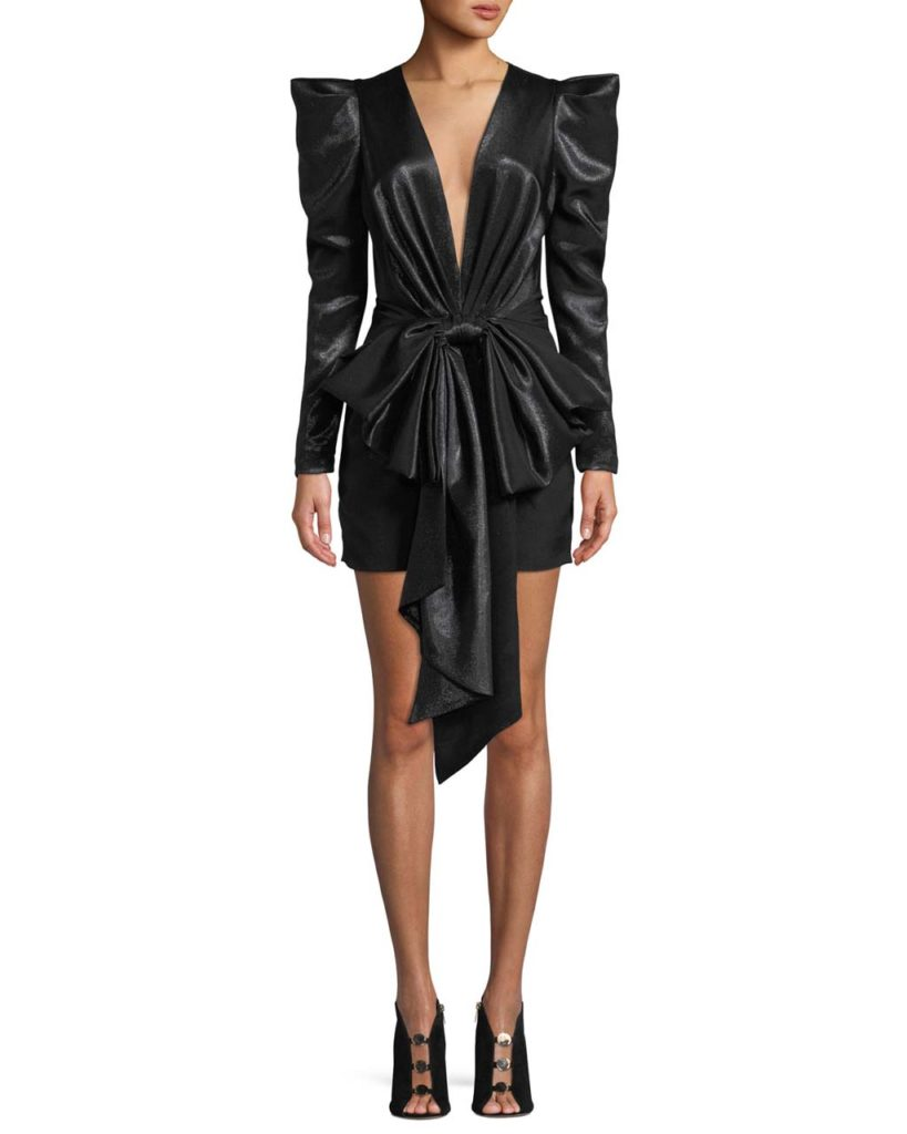 Alexandre Vauthier Exaggerated-Shoulder Bow-Waist Fitted Mini Cocktail Dress_1