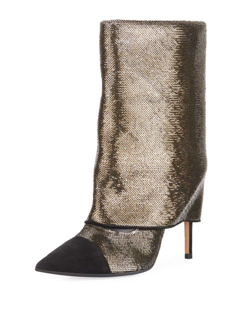 Balmain Bicolor Sleeve Glitter Mid-Calf Boot_1