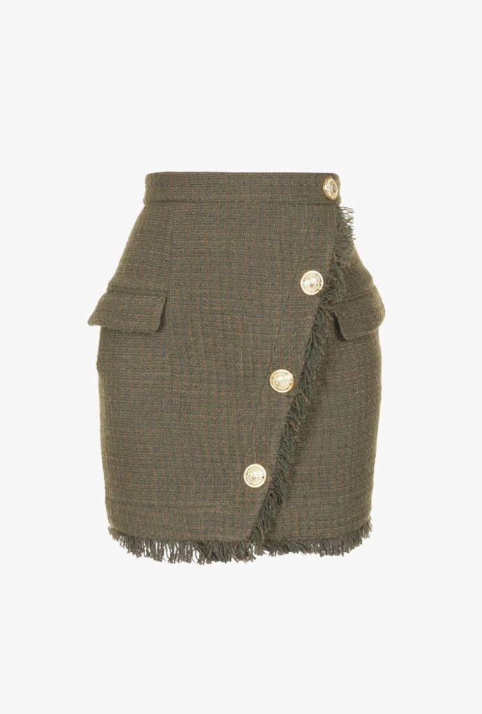 Balmain Buttoned Tweed Mini Skirt_1