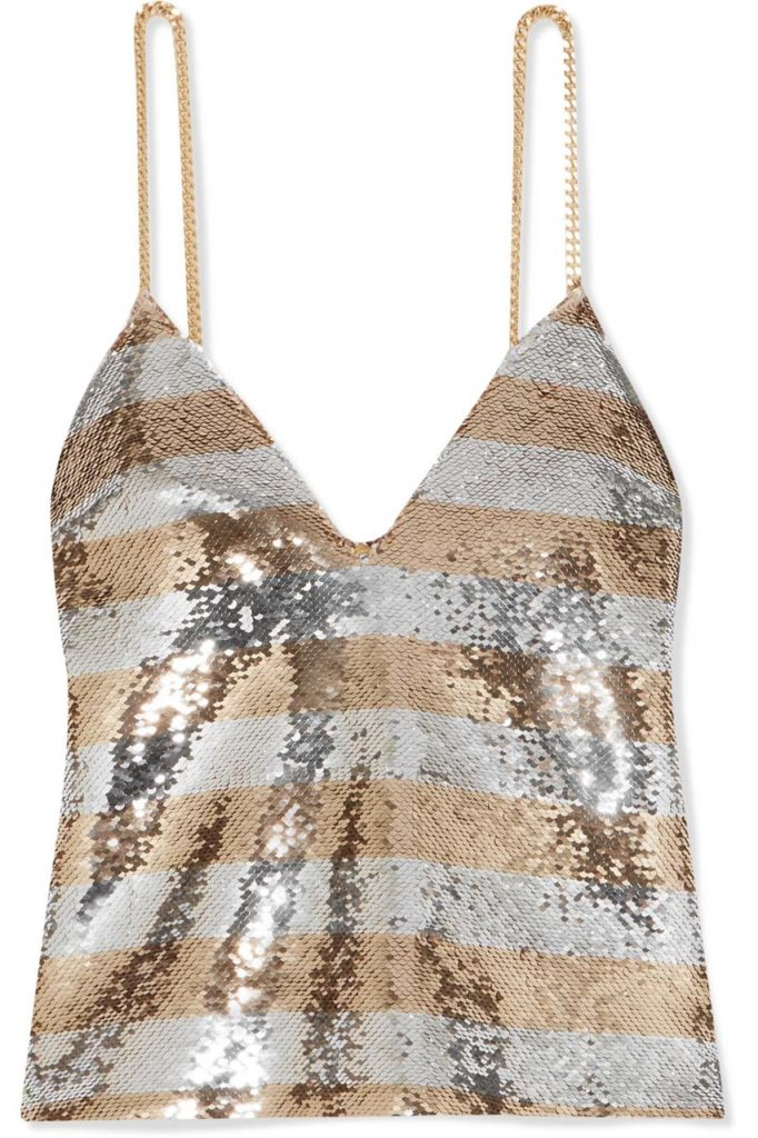 Balmain Chain-Embellished Striped Sequined Crepe Camisole_2