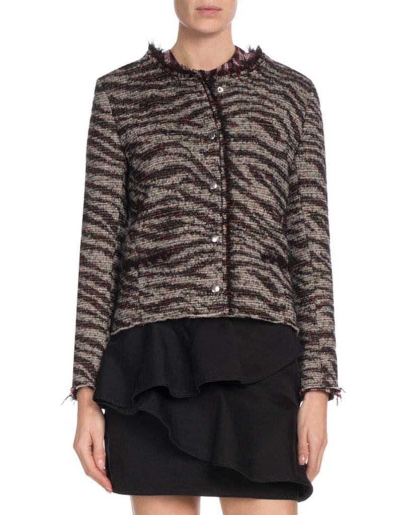 Etoile Isabel Marant Lycia Snap-Front Zebra-Print Wool Jacket