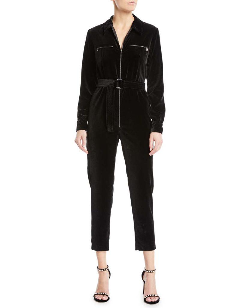 Maxmara Alloro Zip-Front Long-Sleeve Belted Skinny-Leg Velvet Jumpsuit