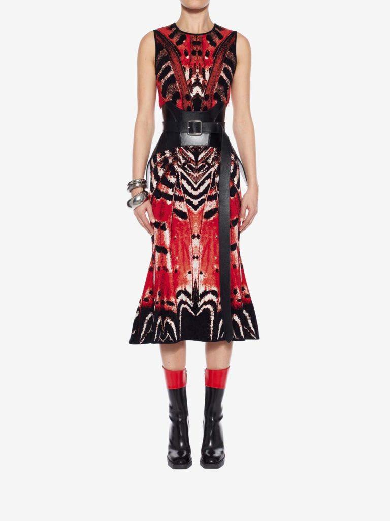 McQueen Butterfly Jaquard Midi Dress