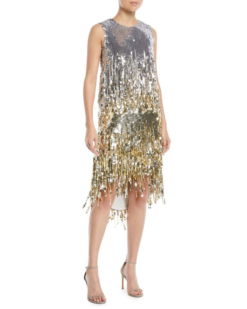 Oscar de la Renta Jewel-Neck Sleeveless Fringe Sequin Cocktail Dress