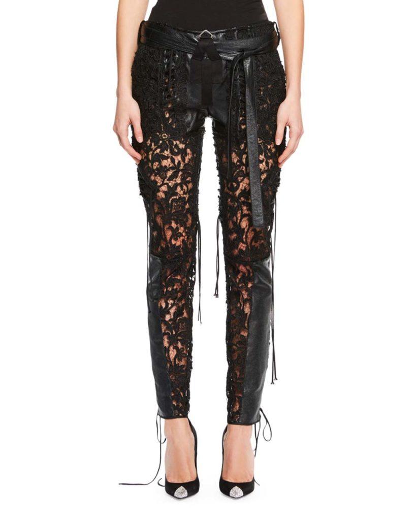 Saint Laurent Leather & Lace-Paneled Pants