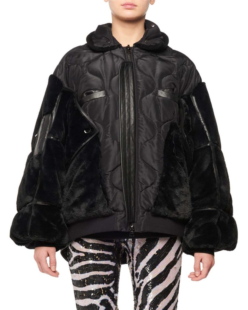 TOM FORD Zip-Front Patchwork Silk Taffeta Puffer Bomber Jacket w_ Faux-Fur