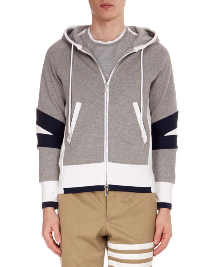 Thom Browne Men's Articulated Zip-Front Hoodie