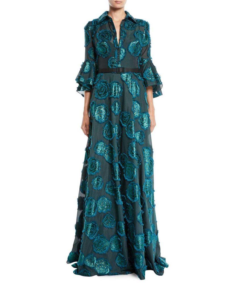 badgley-mischka-GREEN-Floral-Fil-coupe-Shirtwaist-Gown-W-Belted-Waist
