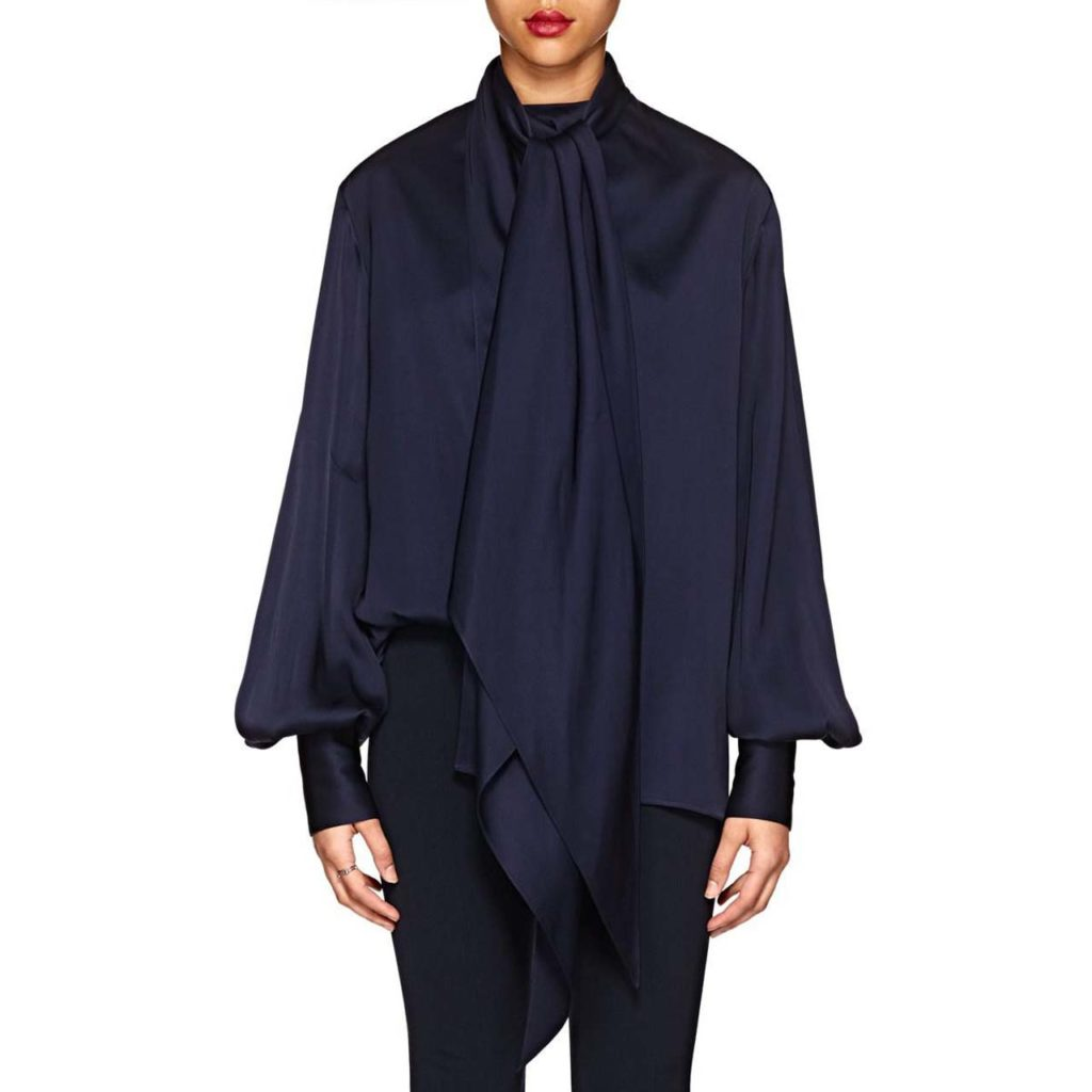 the-row-MIDNIGHT-BLUE-Asta-Polished-Twill-Tieneck-Blouse
