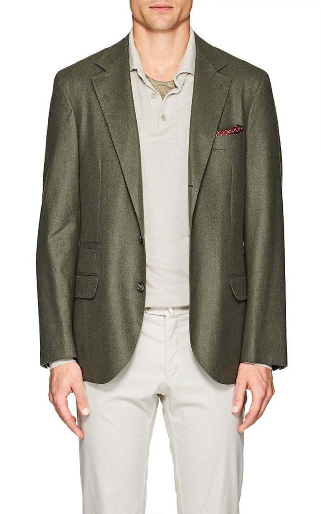 Brunello Cucinelli Wool-Blend Flannel Three-Button Sportcoat
