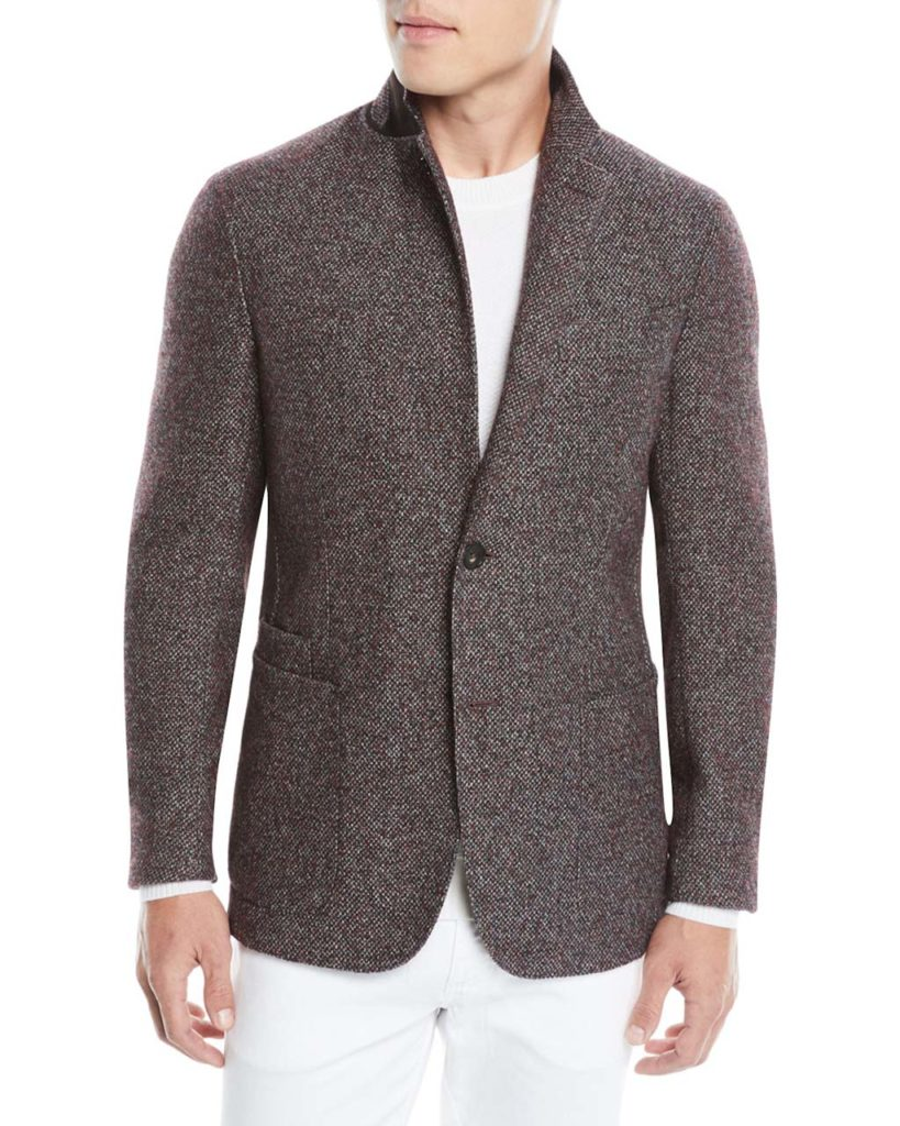Ermenegildo Zegna Men's Textured Camel_Alpaca Two-Button Blazer