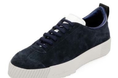 Giorgio Armani Men's Suede Low-Top Sneaker, Navy_1