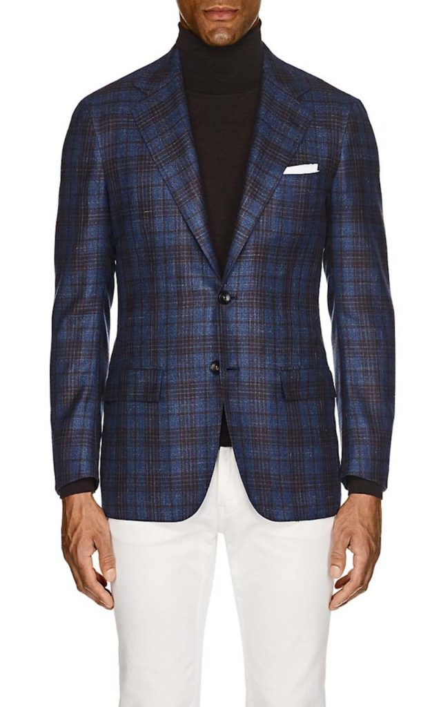 Kiton KB Plaid Cashmere-Blend Two-Button Sportcoat