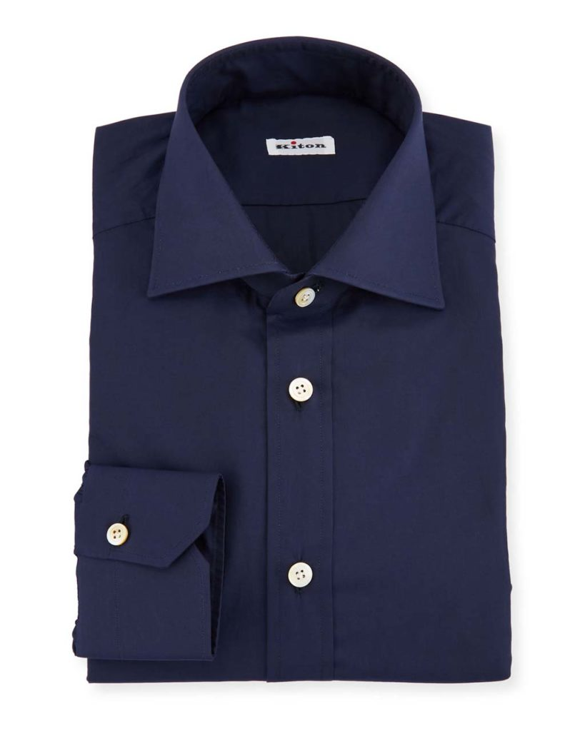 Kiton Solid Broadcloth Dress Shirt, Navy